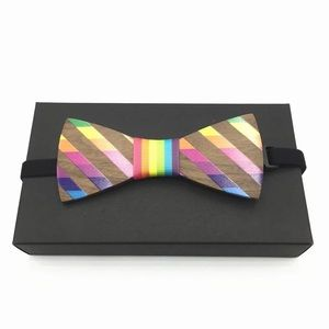 Other - 🌈 Rainbow Wooden Butterfly Bow Tie